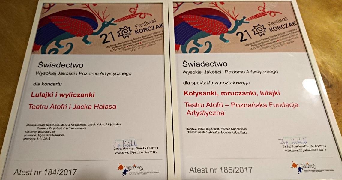 Atest ASSITEJ 2017 Festiwal Korczak